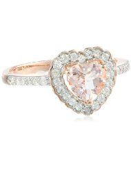 Latest Fashion Trends: 10k Rose Gold Morganite and Diamond Heart Ring (0.2 cttw GH, Color, I1-I2 Clarity)