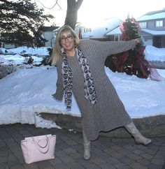 Eva Trends Grey Slit knitted dress with shoe dazzle boots and a Pink Kate Spade Tote