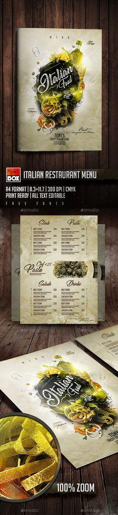 Italian Restaurant Menu — Photoshop PSD #caffe #dinner • Available here → https://graphicriver.net/item/italian-restaurant-menu/19849336?ref=pxcr