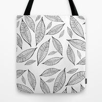 Tote Bag featuring Black and White Simple Leaves one by Robin Gayl
