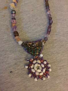 Stitched beaded necklace for girls.