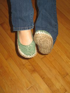Green Crocheted Shoes Size 7/8 in Womens US by indigocrochet, $50.00