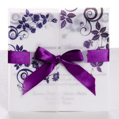 Classic purple gate fold ribbon wedding invitations EWRI004