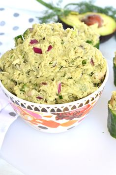 This Avocado Dill Tuna Salad is paleo, whole 30 and packed with flavor! Avocado completely replaces mayo for an all natural healthy fat addition! Easy Potluck Recipes, Cooking Recipes, Healthy Recipes, Paleo Whole 30, Whole 30 Recipes, Good Food, Yummy Food, Tuna Salad, Healthy Eating