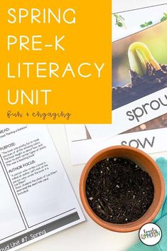 Literacy activities for preschoolers based around four popular read-alouds. This Literacy unit is based on a Spring theme. Literacy Activities, Literacy Centers, Planting A Rainbow, Preschool Alphabet, Authors Purpose, Early Reading, Vocabulary Cards, Spring Theme, Early Literacy
