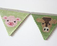 Crochet Bunting Farm Animal Bunting Banner door TheFoxintheAttic
