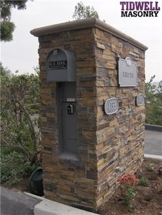 Tidwell Masonry is a Custom Masonry Contractor. BLOCK, BRICK and STONE. They install real stone for veneers, wainscots and fireplaces. They install real stone veneers for residential and commercial projects in San Diego. Real Stone Veneer, Brick And Stone, Stone Mailbox, Parcel Box, Mailbox Landscaping, Parcel Delivery, Stone Facade, Rock Fireplaces, Garden Yard Ideas