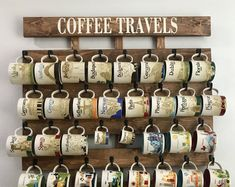 Coffee cup holder, coffee cup rack, 40 to 48 Hook coffee mug rack, coffee mug holder, coffee cup display, Holds Starbucks You Are Here Mugs