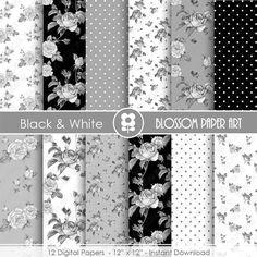 Papeles Floreados Blanco y Negro, Decorativos Rosas Vintage, Papeles Decorativos para imprimir, para artesanías, decoupage - 1894