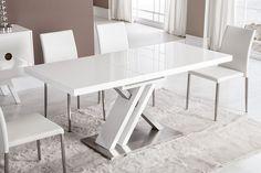 Table de salle à manger rectangulaire design avec rallonge BERNIE, laquée blanche