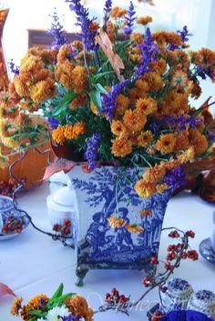 StoneGable: Autumn High Tea/BLUE SALVIA WITH BLUE WILLOW CHINA