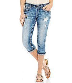 Miss Me Blown Out Pocket Frayed Hem Stretch Denim Capri Jeans