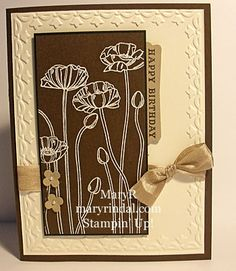 monochromatic card in browns...like the poppy stamp image as a line drawing here...Stampin' Up...