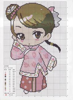 #grafico ponto cruz #ponto cruz #menina #japonesa