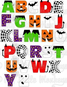 This is a digital file of a Halloween Alphabet. You will receive this Halloween Alphabet in full color SVG format. Fall Halloween, Halloween Crafts, Halloween Decorations, Fonte Alphabet, Caligraphy Alphabet, Halloween Letters, Halloween Clipart, Halloween Fonts, Creative Lettering