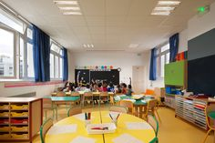 """""""Find secondhand kids seating and paint the frame with a colour pop. Economical, sustainable, unique, creative."""" [Celeste] Ecole Maternelle Pajol – Paris - The Cool Hunter"""