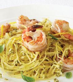 Zucca Spaghetti with Walnut Ginger Pesto & Lemon Shrimp