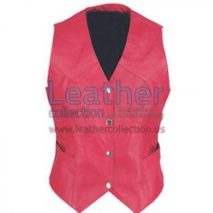 Ladies Vintage Red Fashion Leather Vest, Made of Premium Leather, Four Button On Front, Back Laces, Two Front Pockets