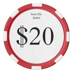 Team Six (Funny Casino Money) $20 Casino Coin Poker Chips Set - #customize create your own personalize diy