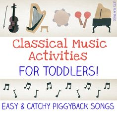 other good music-for-kids links. Easy way to share classical music with toddlers Music Activities For Kids, Music For Toddlers, Music Lessons For Kids, Music Lesson Plans, Piano Lessons, Toddler Activities, Preschool Music Lessons, Kids Music, Movement Activities