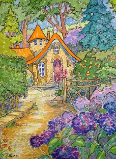 """Daily Paintworks - """"Just Past the Hydrangeas Storybook Cottage Series"""" - Original Fine Art for Sale - © Alida Akers Storybook Cottage, Cottage Art, Watercolor Illustration, Watercolor Paintings, Whimsical Art, Aesthetic Art, Cute Art, Fantasy Art, Architecture"""