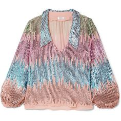 RIXO London Lyla sequined tulle blouse (13.060 RUB) ❤ liked on Polyvore featuring tops, blouses, pastel pink, pink top, tulle top, colorful blouses, embellished blouse and pink sequin top
