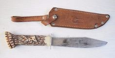 Vintage Collectible Soviet Deer Hunting Knife Leather Sheath Synthetic Handle #Unbranded