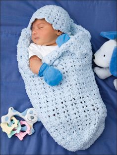 Shell Stitch Papoose & Hat Crochet Pattern Download from e-PatternsCentral.com -- Silky-soft shells form a warm cocoon to gently nestle Baby.