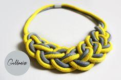 Statement-Kette+'Ronda',+grau-gelb+von+Goldmeise+auf+DaWanda.com Paracord, Knot Necklace, Statements, Knots, Diys, Bling, Chain, Bracelets, Necklaces