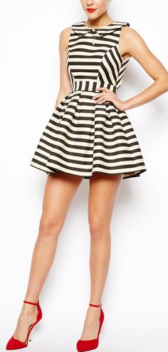 Stripes skater dress