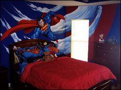 Superhero bedroom ideas - Superhero themed bedrooms - Superhero room decor - superhero bedroom decorating ideas - Superheroes bedroom ideas - Decorating ideas Avengers rooms - superhero wall murals - Comic Book bedding - marvel bedroom ideas - Superhero B Superman Room, Superhero Room, Superman Stuff, Marvel Bedroom, Batman Bedroom, Avengers Bedroom, Boys Bedroom Decor, Bedroom Themes, Bedroom Ideas