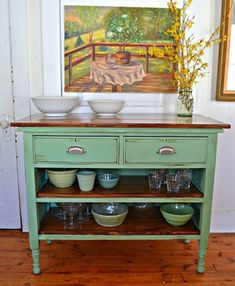 Heir and Space: Antique Dresser Turned Kitchen Island -- would be great for a si. - Heir and Space: Antique Dresser Turned Kitchen Island — would be great for a sideboard or a kitch - Refurbished Furniture, Repurposed Furniture, Furniture Makeover, Painted Furniture, Chair Makeover, Stylish Home Decor, Diy Home Decor, Furniture Projects, Diy Furniture