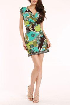 Sandra Darren Marnie Dress In Green & Aqua - Beyond the Rack