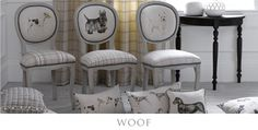 Caleb Dining Chairs shown with Voyage Maison cushions from the Woof Collection Voyage Fabric, Decoration Shabby, Interior Decorating, Interior Design, Decorating Ideas, Decor Ideas, Colorful Decor, Fabric Design, Pattern Design