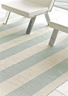 Dash and Albert Yacht Stripe Ocean Woven Cotton Rug