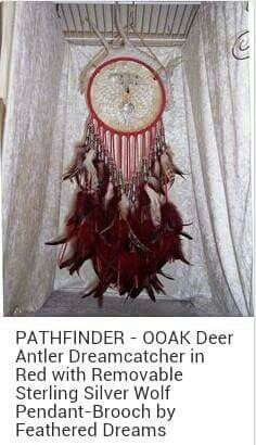 Pathfinder - Ooak Deer Antler Dreamcatcher in red. Silver brooch is removable. feather dreams created brooch
