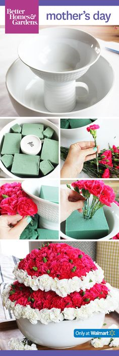 Create a DIY Mother's Day centerpiece like @splendidamy. Use a variety of colors and flowers to add interest!