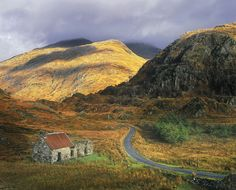 Kinlochourn, Highlands, Scotland, stone, bothy, red, roof ...