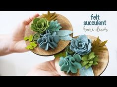 Felt Succulent Home Decor Project. Whos ready to add some love to their living space with this fabulous felt succulent home decor project? I know I am :) Supplies Materials: Buy the Die Cuts Here: .Beautiful Projects Involving Felt Flowers and Succulents Handmade Flowers, Diy Flowers, Fabric Flowers, Paper Flowers, Felt Flowers Patterns, Flower Ideas, Felt Diy, Felt Crafts, Felt Flower Tutorial