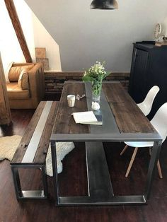 Industrial Steel & Reclaimed Wood Dining Table and Bench Set Rustic Kitchen Tables, Reclaimed Wood Dining Table, Kitchen Dining Sets, Table And Bench Set, A Table, Modern Industrial Furniture, Kitchen Industrial, Welded Furniture, Wood Table Design