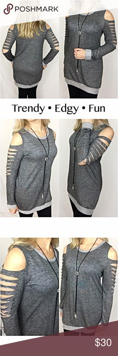 "Trendy Edgy Fun Distressed Slit Sleeve Tunic SML You will love being comfortable in this trendy, edgy & fun tunic. Take cold shoulder to a new level with the cool distressed slouchy slit sleeves!  Charcoal gray with contrasting tone trim & a terry-like lightweight stretchy knit fabric . 92% Polyester 8% Spandex  Measurements Laying Flat Small Bust 17.5"" Length 29"" Medium Bust 18.5"" Length 30"" Large Bust 19.5"" Length 31"" Tops"