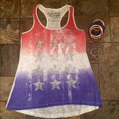 4th of July  Bundle Racer back tank top with glitter flag design, jelly bracelets and earrings! No trades or PP Tops