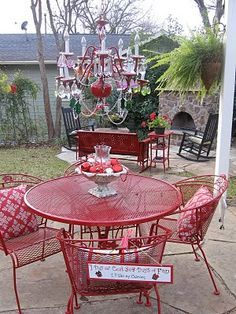 Cool Gardens Outdoor Furniture Not On The Chandelier But I Think Painted Wrought Iron Table Chairs Look Great