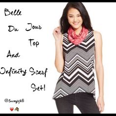Belle Du Jour Top & Scarf Set This relaxed-fitted Pull over top has a Scoop Neckline. It is sleeveless. Color Chevron Black Striped. It also features a cool envelope-style back. Hits at hips. Comes with a Red Printed Infinity Scarf. (As seen in picture)The top and scarf are made of cotton/polyester.  Machine washable. Juniors Large. NIP Belle du Jour Tops