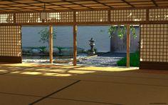 Dojo garden. Ceiling looks a bit low, but still is a beautiful facility.