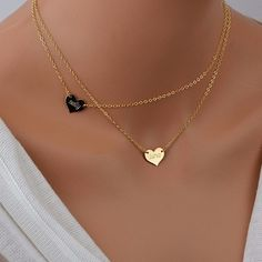 Name #Heart Necklace, Personalized #Gold Necklace, Layered Necklace Set, Delicate Gold Necklace, Gold or Rose Heart Necklace * Heart 13x11mm* Chain and Clasp - delicate but v... #925 #bridal #custom #customize #engraving #everyday #gift #gold #heart #jewellery #jewelry #malizbijoux #minimal #simple
