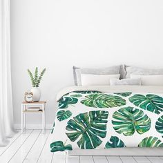 Great for Tropical Leaves Duvet Cover by East Urban Home Bedding Furniture from top store Room, Interior, Duvet, Room Decor, Bedroom Decor, Duvet Covers, Tidy Room, Tropical Bedrooms, New Room