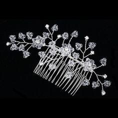 Wedding Veil with Rhinestones Crystals   Bridal Wedding Rhinestone Crystal Beads Tiara Veil Hair Comb FC020 ...