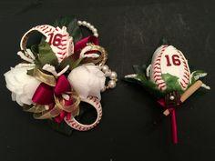 Baseball boutonniere and baseball corsage