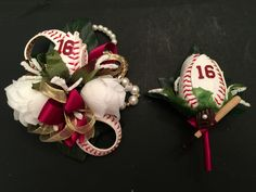 Baseball boutonniere and baseball corsage